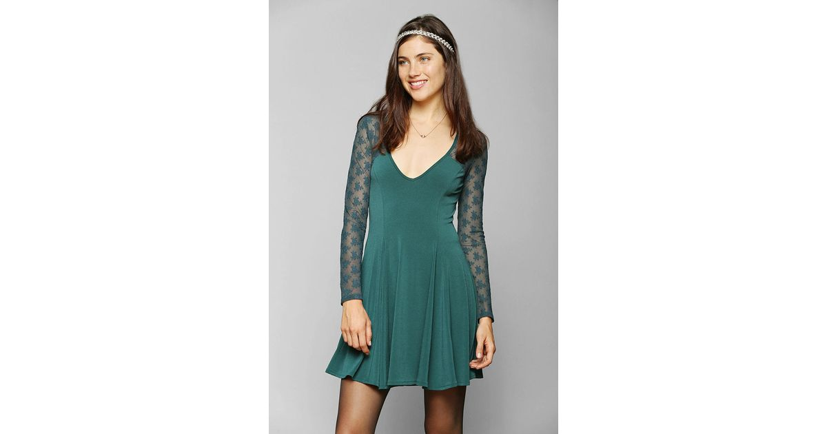 f77a22e181 Lyst - Urban Outfitters Lace Top Skater Dress in Green