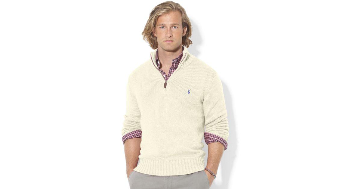 e93a23cee241 ... amazon lyst ralph lauren halfzip mock neck hightwist cotton pullover in  white for men 3b14d e96cd