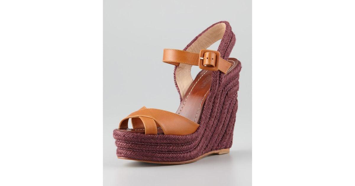 24d5b4f0e2f1 Lyst - Valentino Crisscross Espadrille Wedge Sandal Tan in Purple