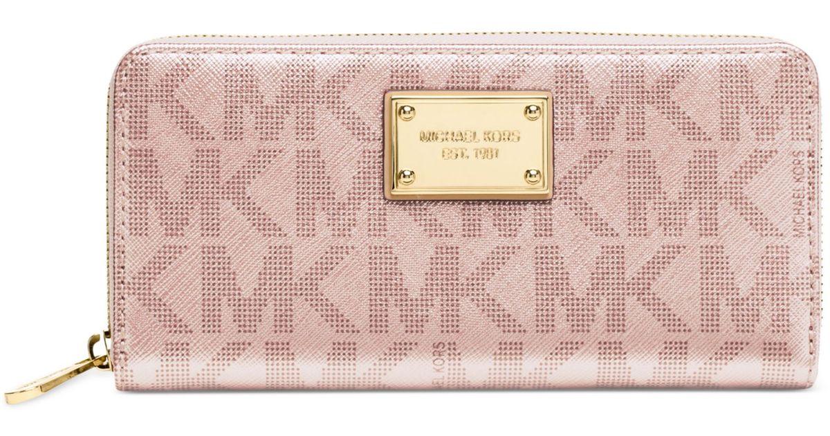 e3979175f4fa Michael Kors Signature Metallic Zip Around Continental Wallet in Pink - Lyst
