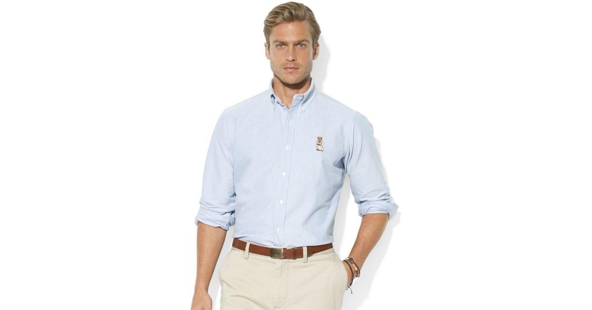 Lyst - Ralph Lauren Classicfit Longsleeve Cotton Oxford Polo Bear Sport  Shirt in Blue for Men