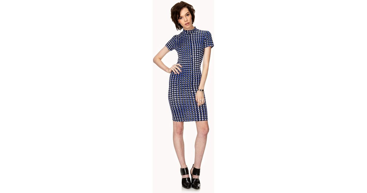 fba80e896812 Lyst - Forever 21 Mod Houndstooth Midi Dress You've Been Added To The Waitlist  in Blue