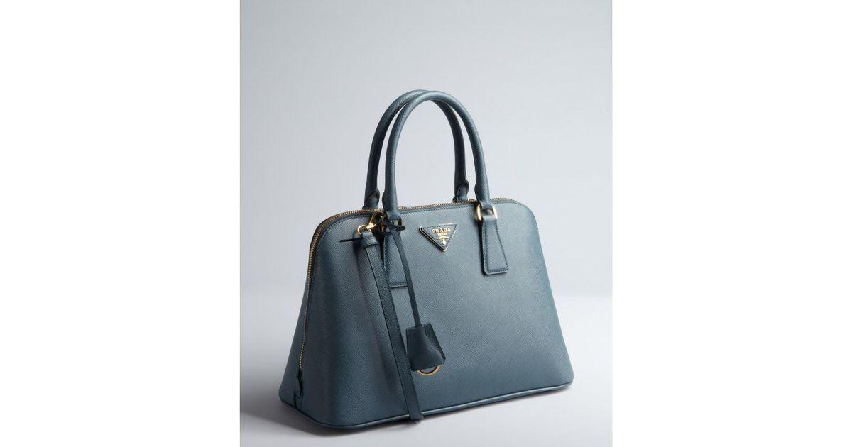 ... spain lyst prada marine blue saffiano leather double zip top handle  handbag in blue c44c0 f4ae4 ad1ad034ca56a