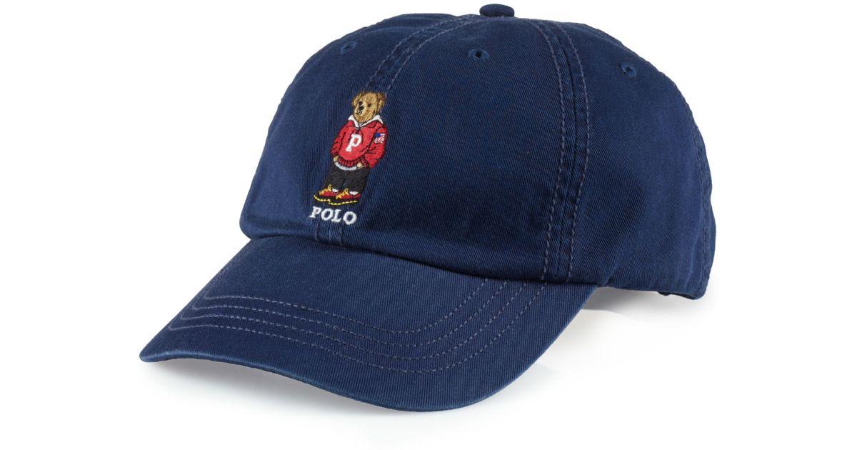 6d2c20a2e Ralph Lauren Chino Polo Bear Baseball Cap in Blue for Men - Lyst