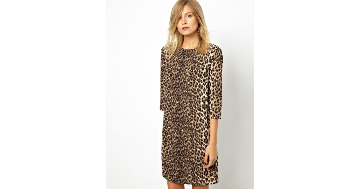 366b2c416cbb ASOS Shift Dress In Animal Print - Lyst