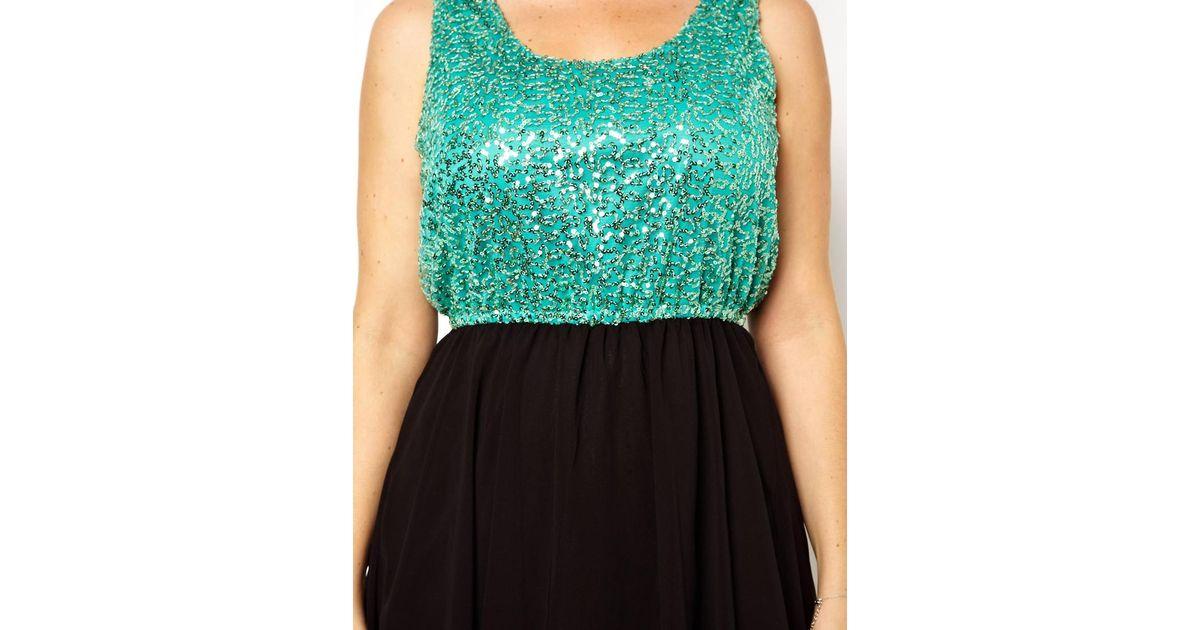 Green Plus Size Sequin Dress