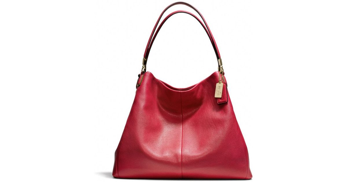 0fbe94f8a5 Lyst - COACH Madison Phoebe Shoulder Bag in Leather in Red