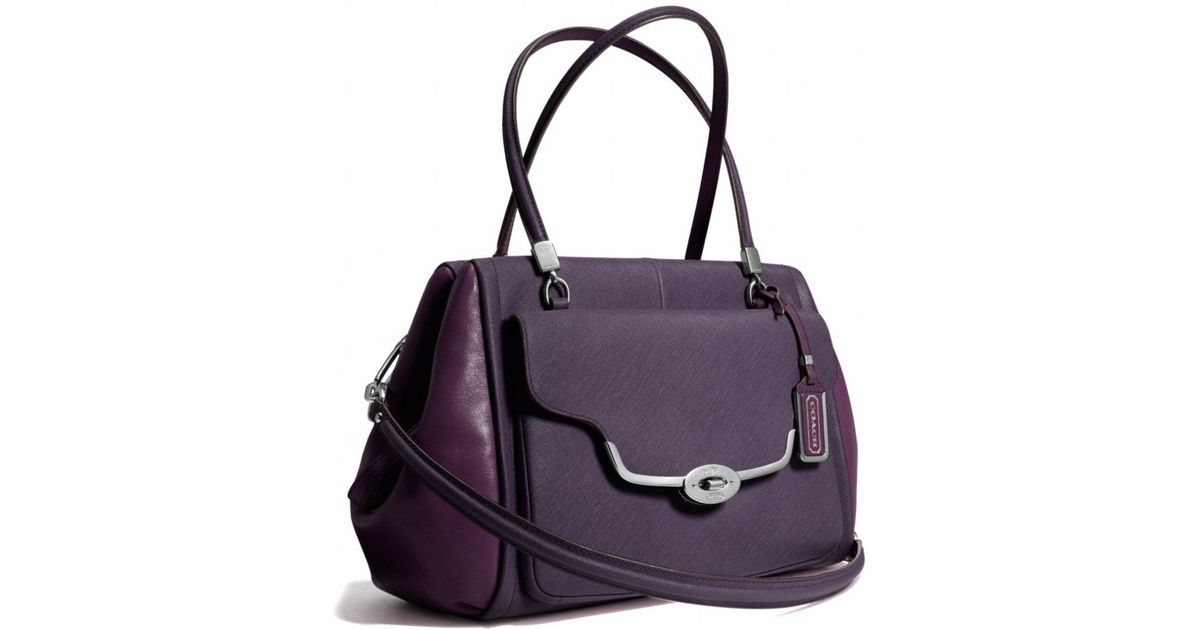 fb32b03dbbb0 ... where to buy lyst coach madison madeline eastwest satchel in spectator saffiano  leather in purple cd312
