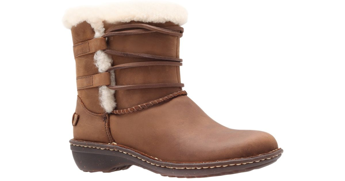 ugg rianne leather ankle boots in brown lyst
