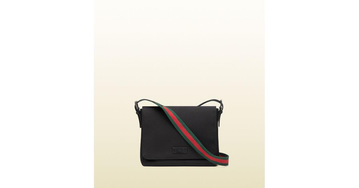 cb4a4e439 Gucci Black Techno Canvas Messenger Bag in Black for Men - Lyst