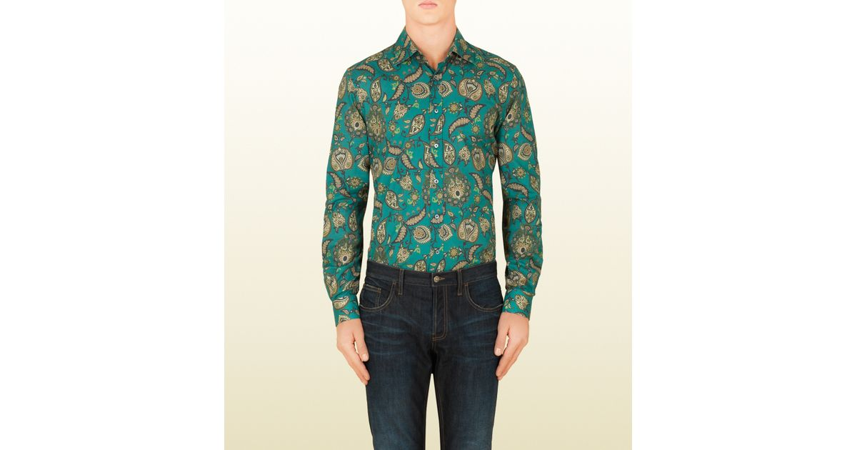 248eab4182f9 Gucci Paisley Print Fitted Shirt in Green for Men - Lyst
