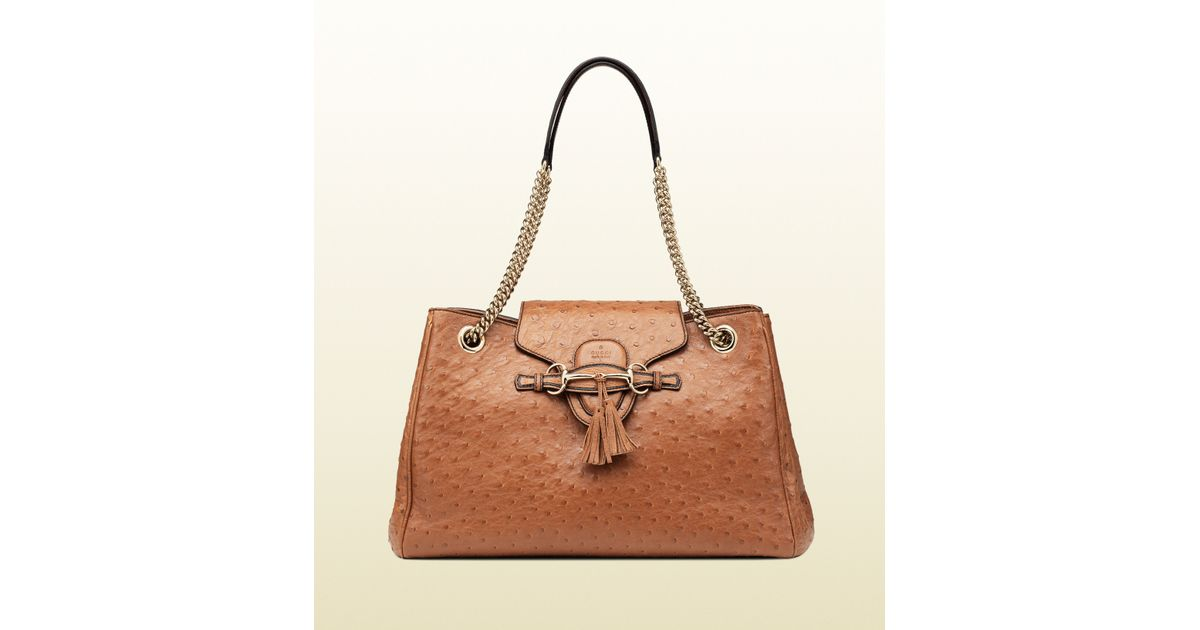 a86e4851d651 Lyst - Gucci Emily Ostrich Shoulder Bag in Brown