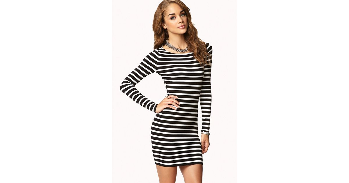 forever 21 breton stripe dress in natural lyst