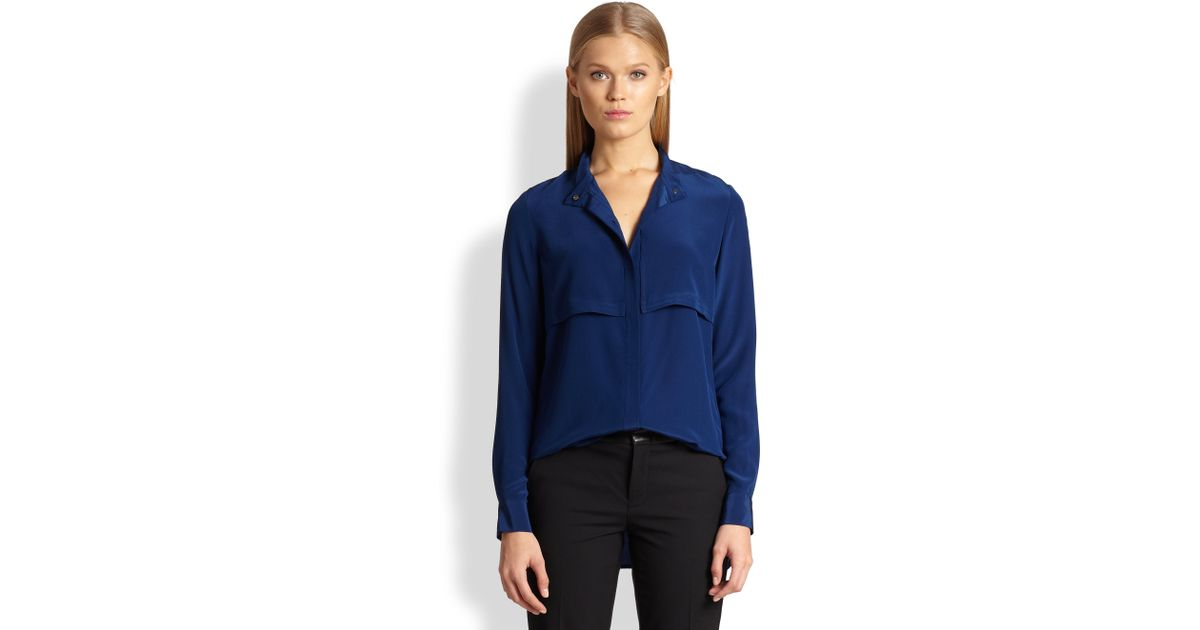 84b57f48455e74 Lyst - Vince Silk Military Blouse in Blue