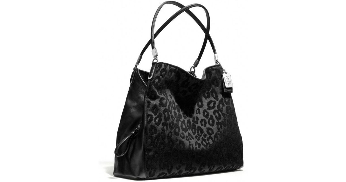 29bed0c69a Lyst - COACH Madison Small Phoebe Shoulder Bag in Chenille Ocelot in Black
