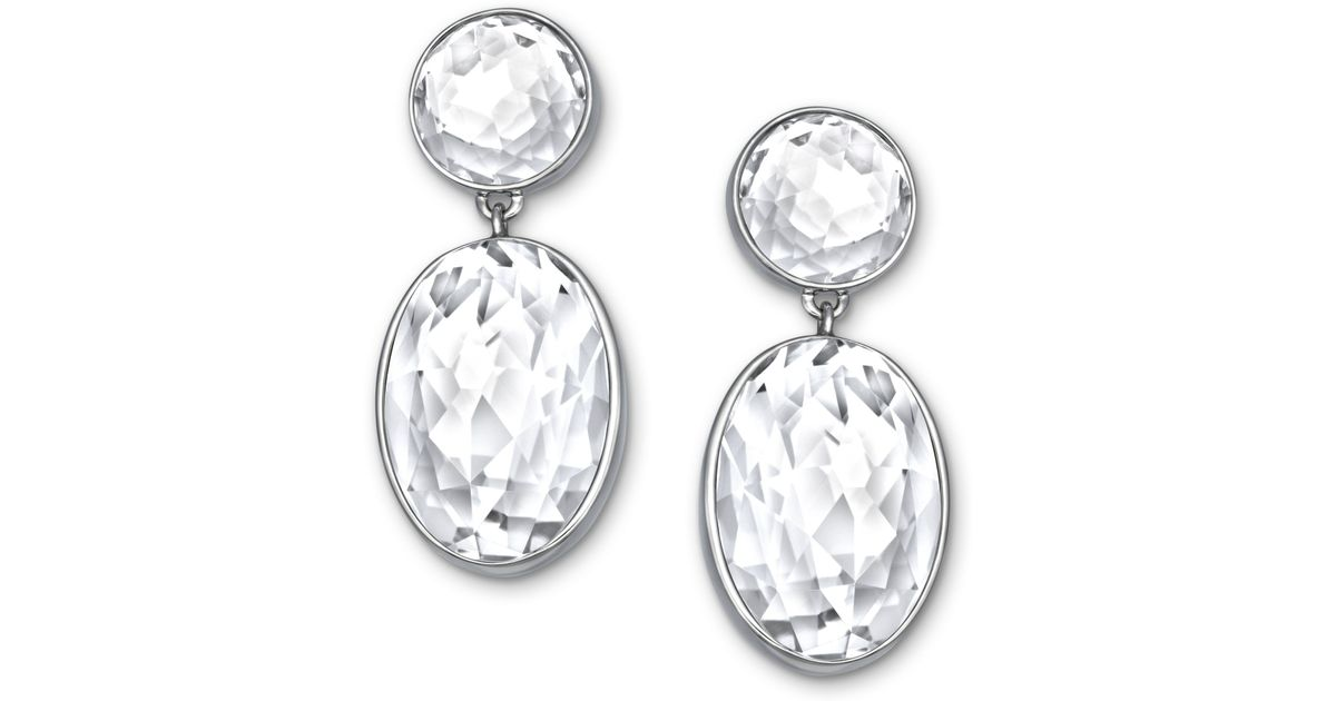 4add4b1b1 Swarovski Palladiumplated Clear Crystal Oval Drop Earrings in Metallic -  Lyst