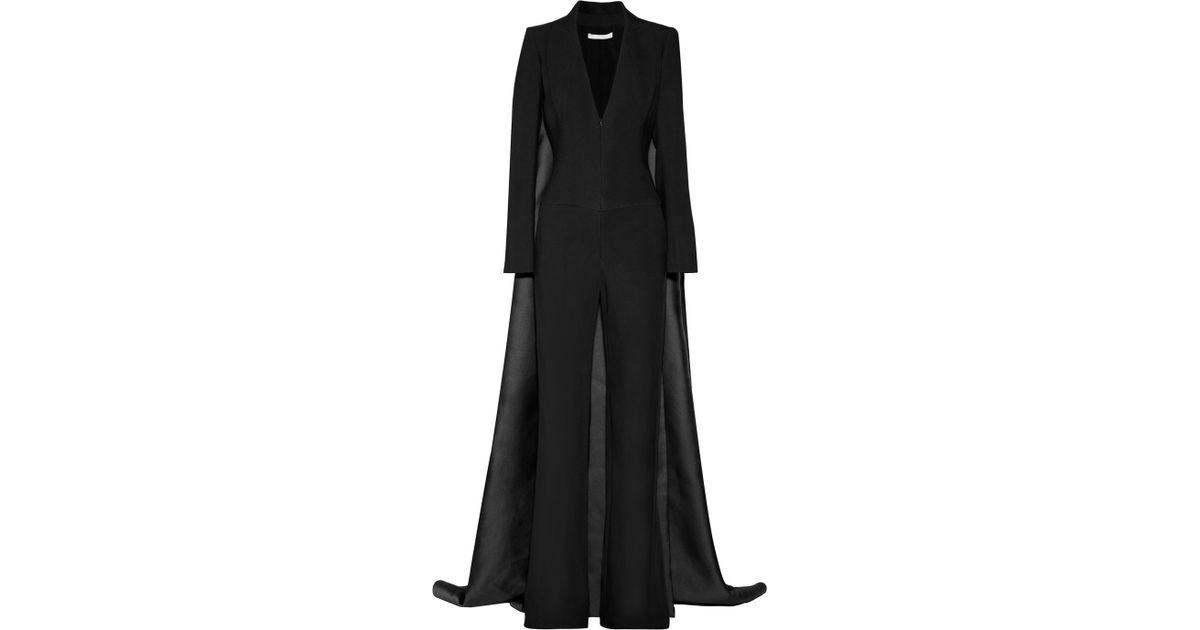 8a6dab821e15 Lyst - Antonio Berardi Crepe Cape Jumpsuit in Black