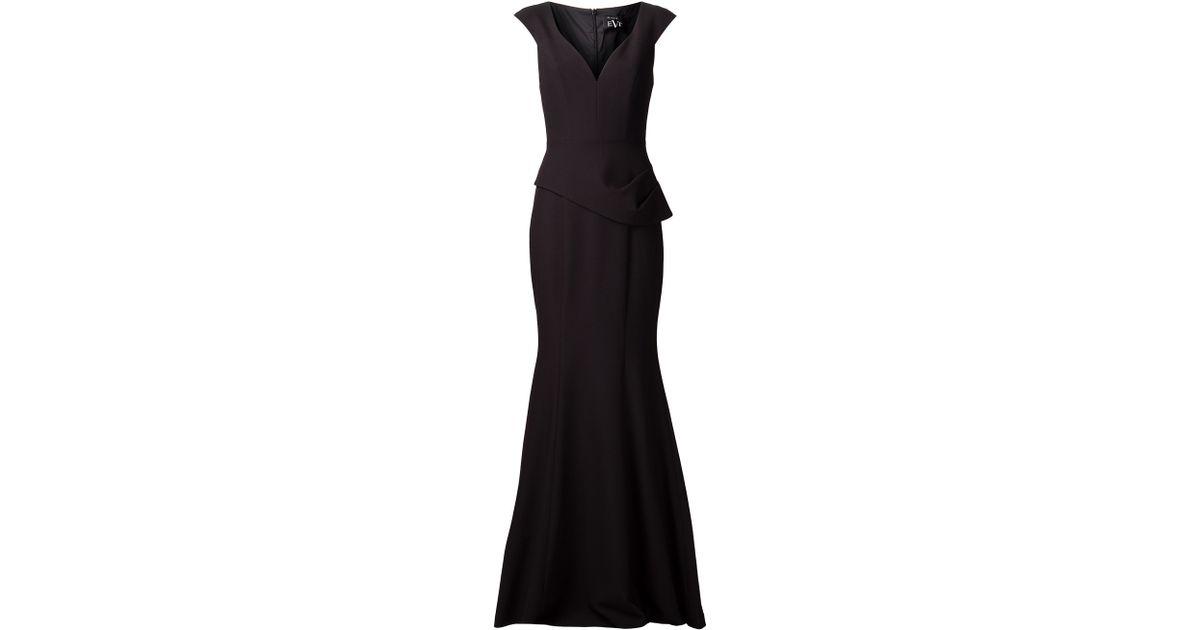 Lyst Black Halo Long Peplum Dress In Black