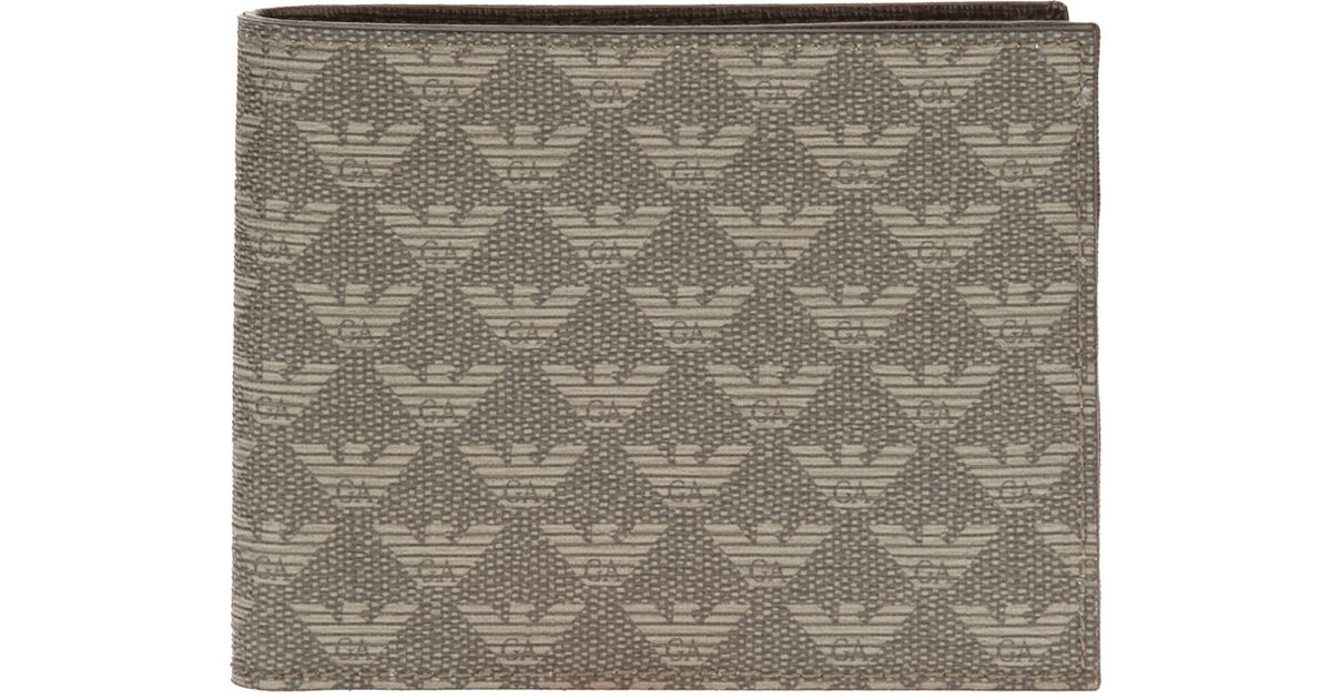 7380637de0f Lyst - Emporio Armani Monogram Print Wallet in Gray for Men