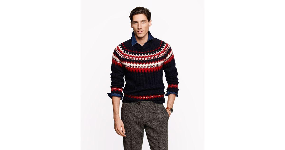 J.crew Ramsay Fair Isle Sweater in Blue for Men | Lyst