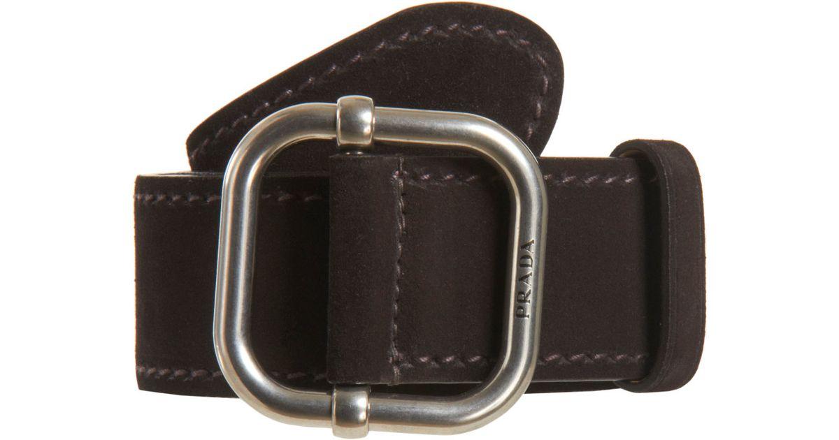 Prada Suede Belt in Brown for Men (silver) | Lyst