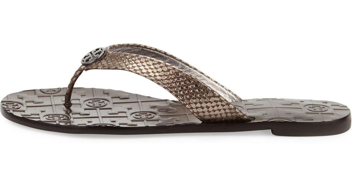 12bfa2214741 Lyst - Tory Burch Thora Leather Snake-Print Thong Sandal