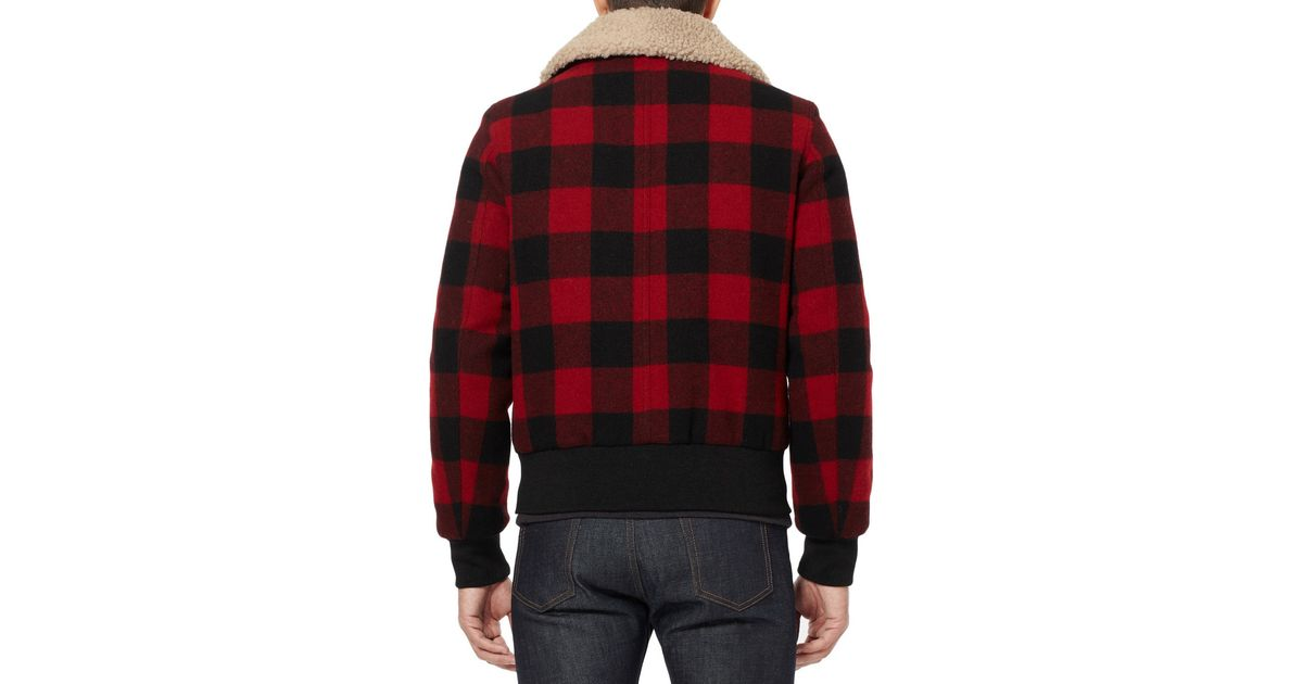 Ami Shearling trimmed Check Wool Bomber Jacket in Red for Men | Lyst