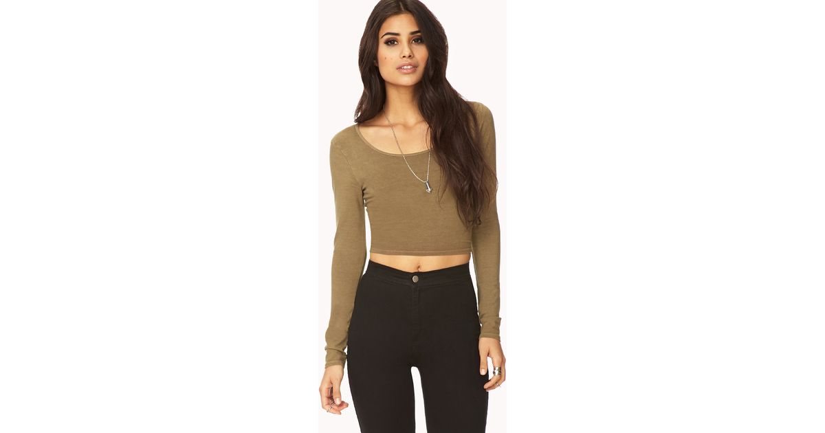 d18b1cd86aff27 Forever 21 Long Sleeve Crop Top in Green - Lyst