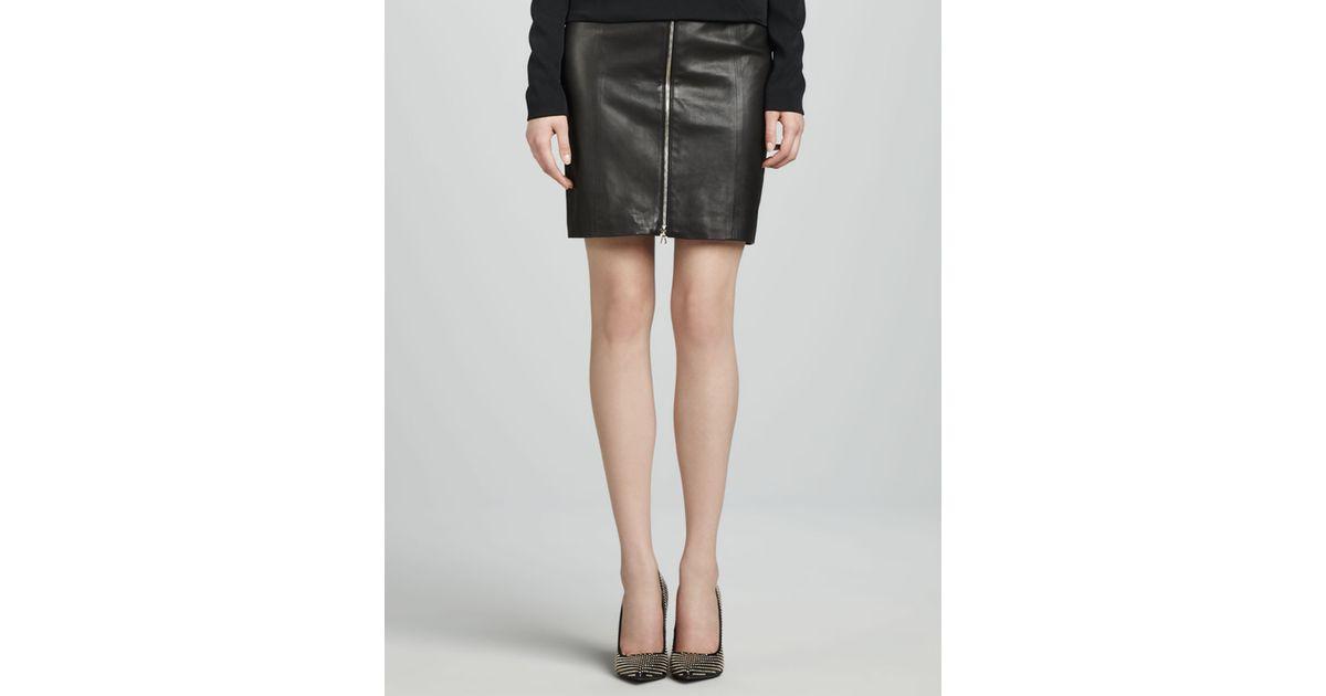 J brand Maxine Frontzip Leather Skirt in Black | Lyst