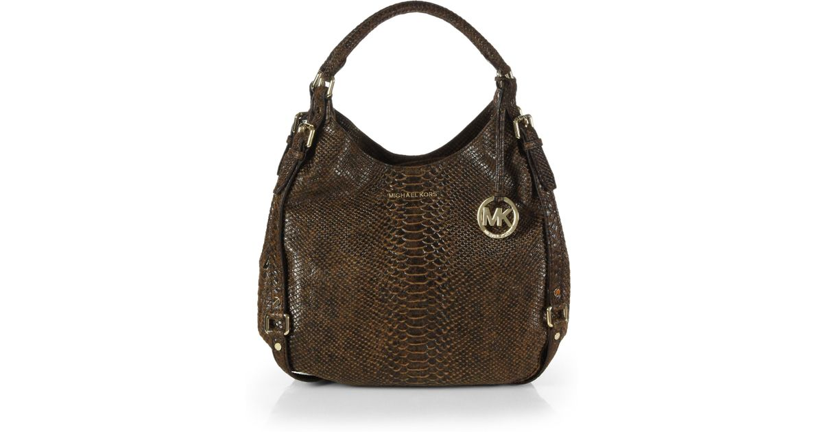 c984326ad9c0 MICHAEL Michael Kors Bedford Python-embossed Leather Tote in Brown - Lyst