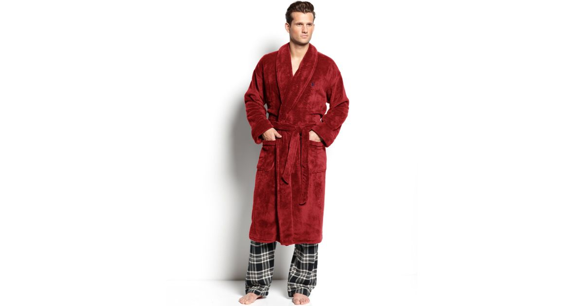Lyst - Polo Ralph Lauren Fleece Shawl Collar Robe in Red for Men d0626f220