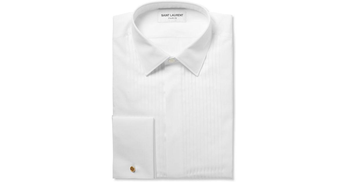 0233aa8bcf4c45 Saint Laurent White Bib-Front Cotton Tuxedo Shirt in White for Men - Lyst