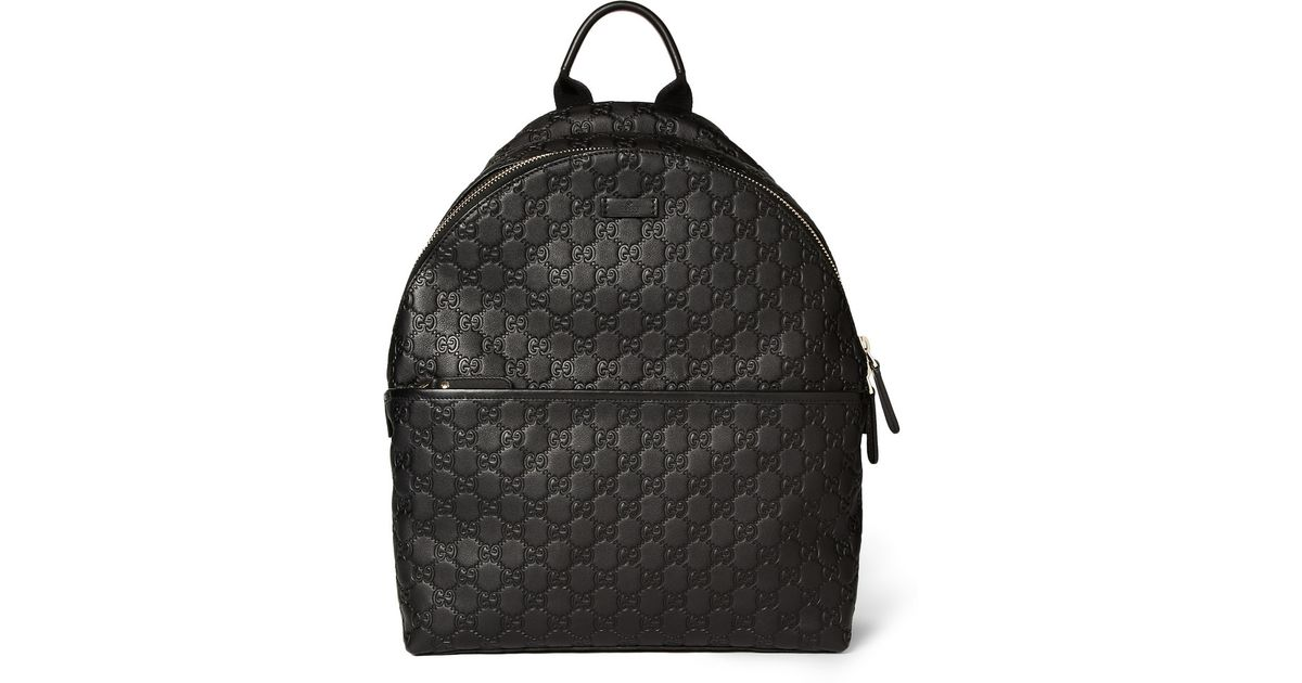 3b0a8f312ea0 Gucci Embossed Leather Backpack in Black for Men - Lyst