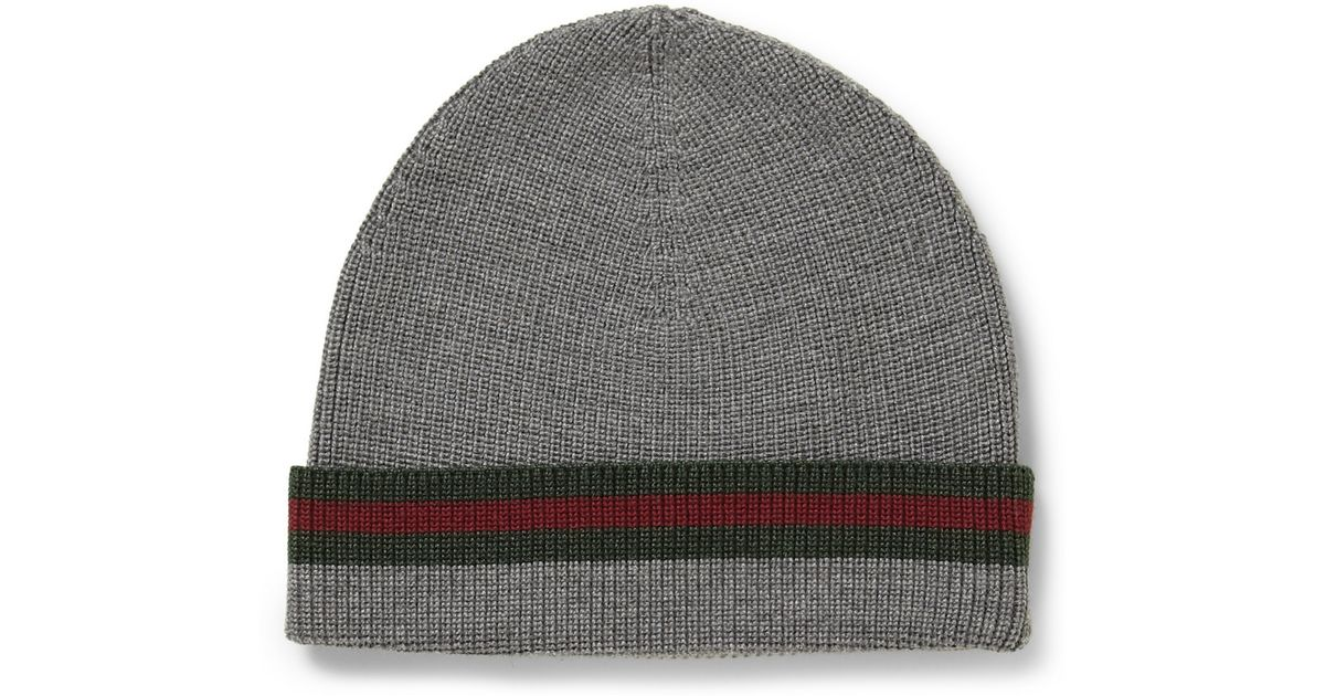 3cec1fd949f2 Lyst - Gucci Striped Wool and Silkblend Beanie Hat in Gray for Men