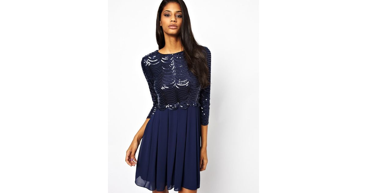 fd01723d02 Lyst - TFNC London Baby Doll Skater Dress with Sequin Bodice in Blue