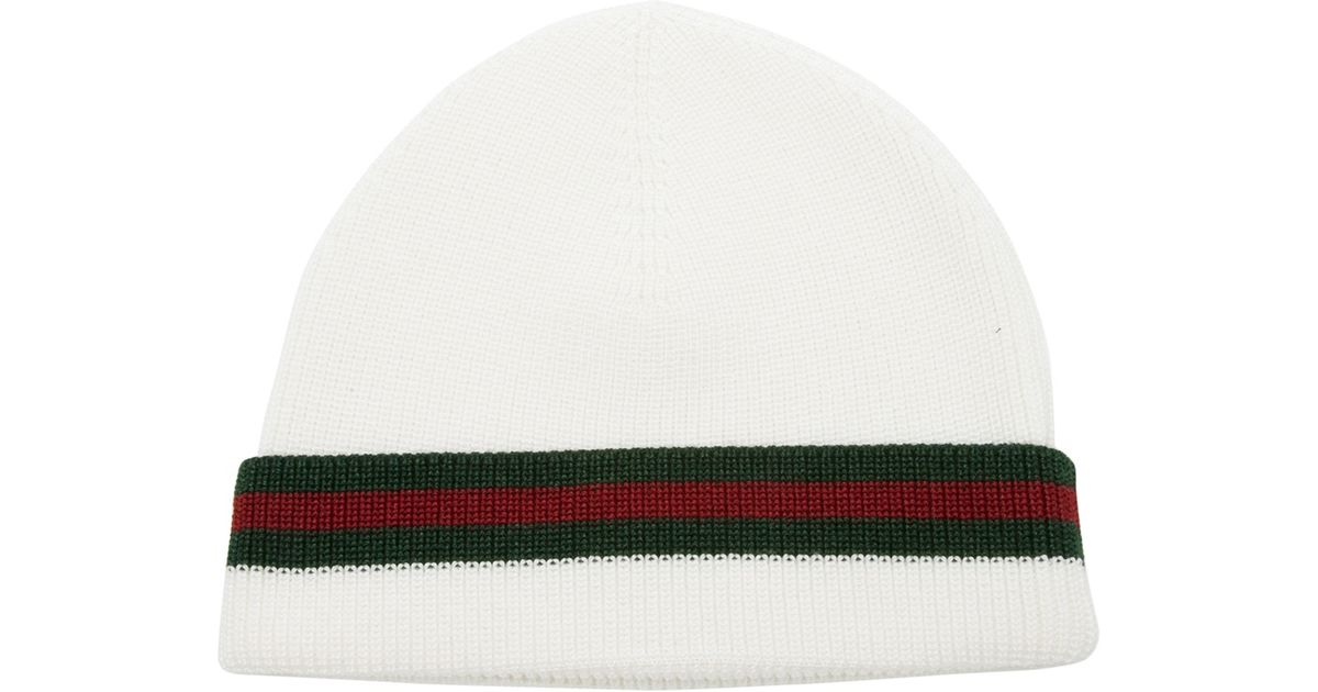 Lyst - Gucci Knit Hat in White for Men 992ca037bf6
