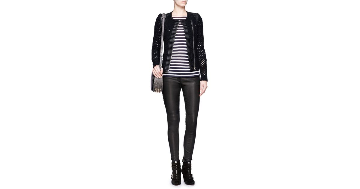 9c3c1f8ec9 IRO Leather Panel Wool Blend Mesh Biker Jacket in Black - Lyst