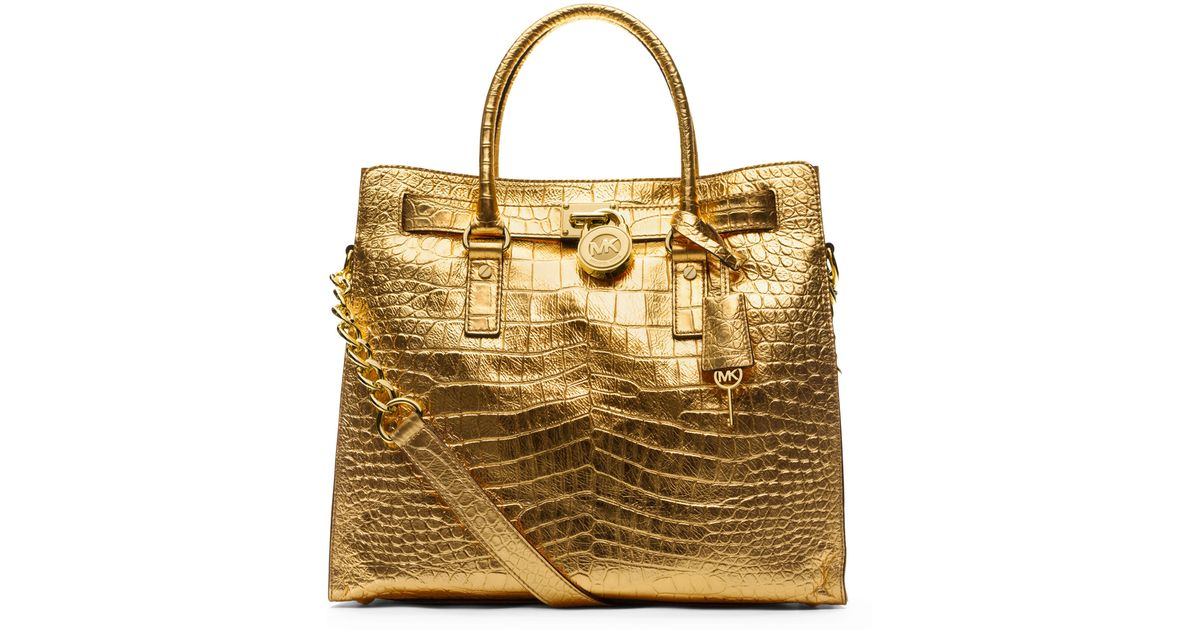 7860ca257403 ... wholesale lyst michael kors michael large hamilton crocodile embossed  tote in metallic 66e6d 57e2a ...