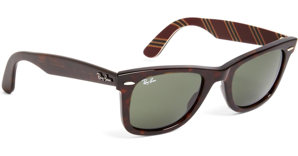 e764c1a982 Brooks Brothers Ray-Ban® Wayfarer Sunglasses With Burgundy Bb 1 Repp Stripe  in Brown - Lyst