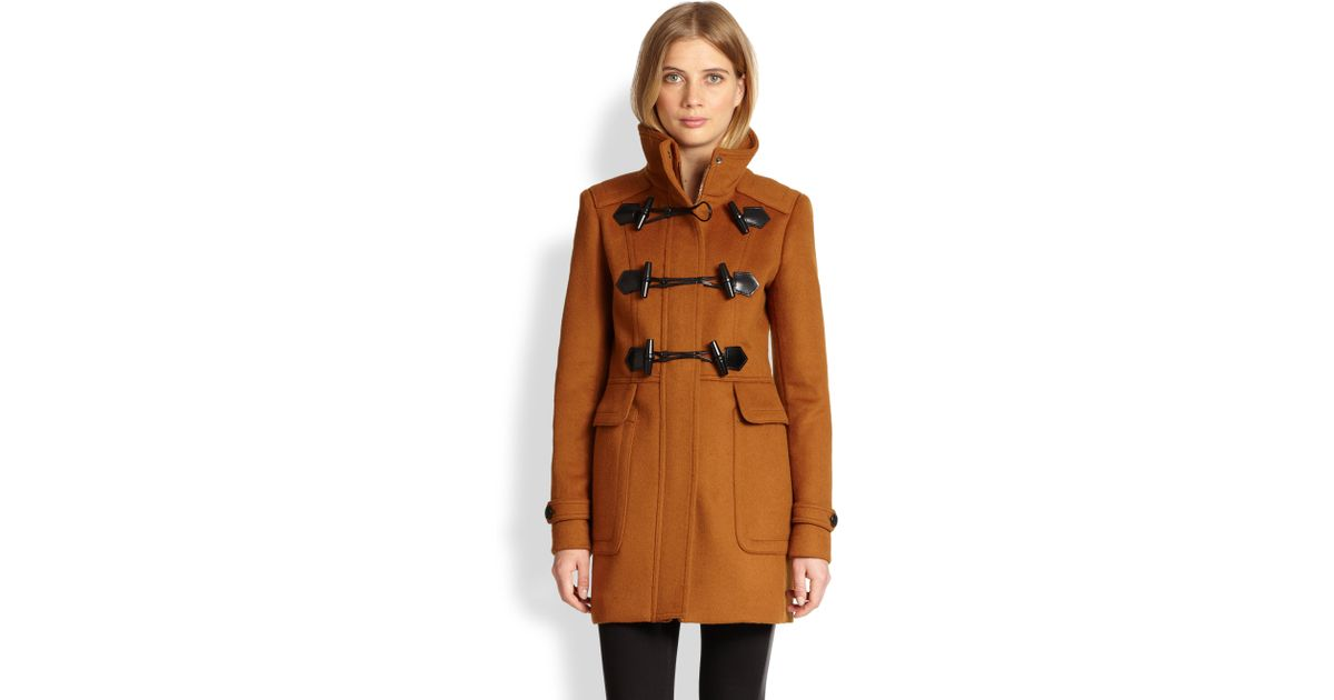 Burberry Woolfelt Toggle Coat in Brown | Lyst