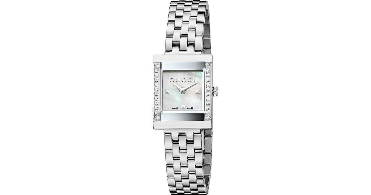 8fc39897656 Gucci Ya128405 G-Frame Mother-Of-Pearl And Stainless Steel Watch - For Women  in Metallic - Lyst