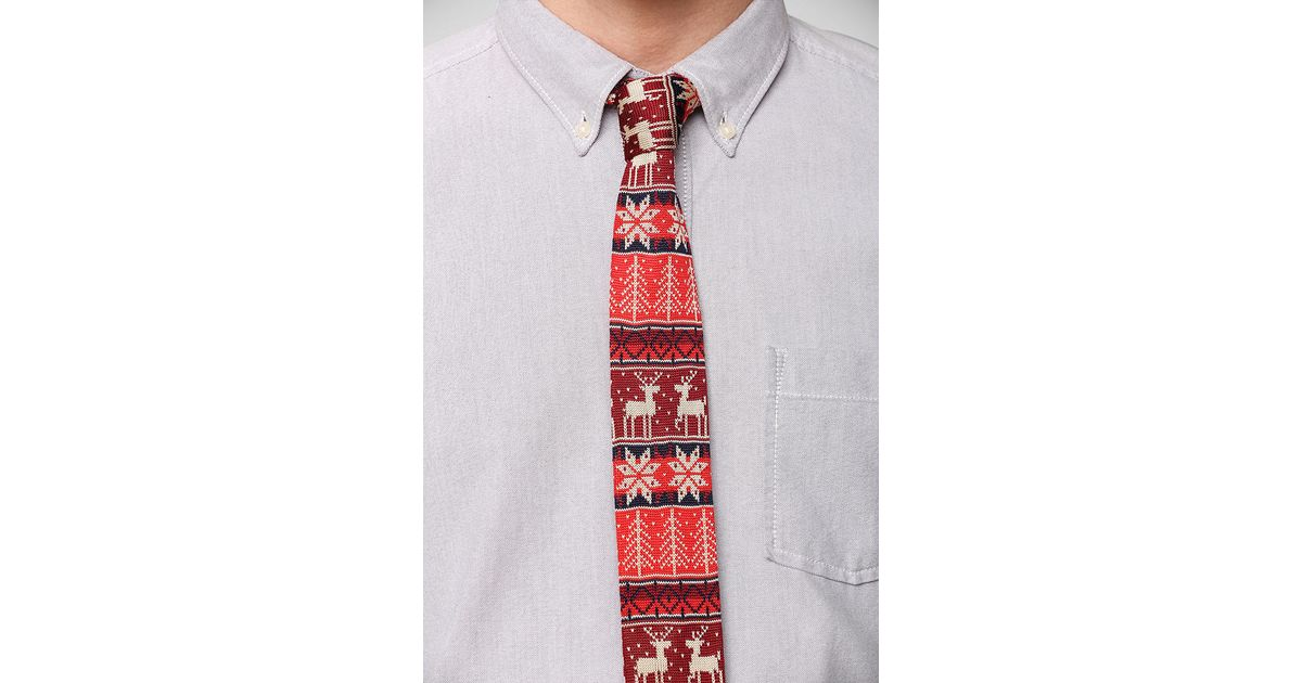 Urban outfitters Reindeer Fair Isle Knit Tie in Red for Men | Lyst