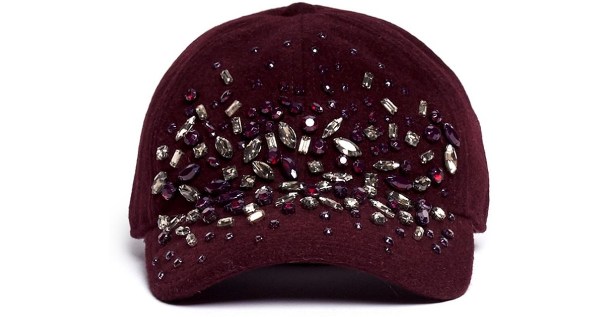 9d8301d86d2f9 Lyst - J.Crew Embellished Wool Baseball Cap in Red