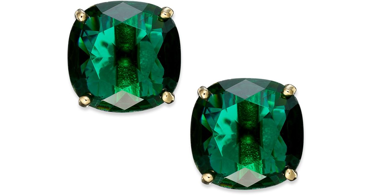 3df16202d Kate Spade New York Goldtone Green Stone Square Stud Earrings in Green -  Lyst