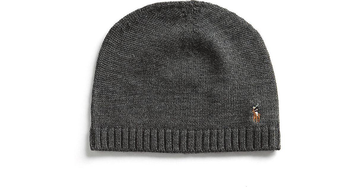Lyst - Polo Ralph Lauren Merino Wool Knit Hat in Gray for Men c7ebf1e0b8f1