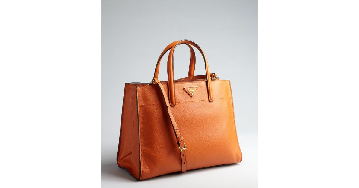 Prada Papaya Saffiano Leather Logo Convertible Tote in Orange ...