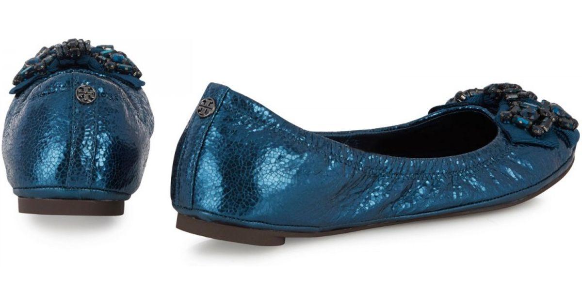 1dfe073d43d Tory Burch Azalea Metallic Leather Ballet Flats in Blue - Lyst