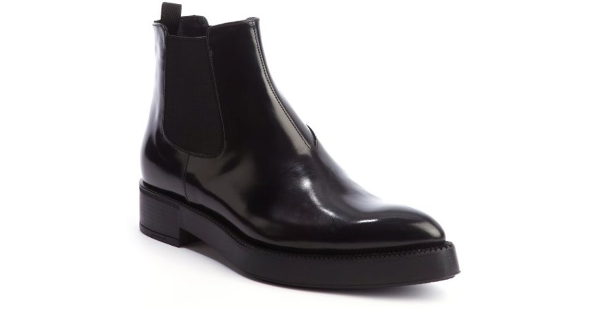 Prada Pointed-Toe Leather Ankle Boots from china sale online for sale sale online outlet explore genuine online YyhKCRReK