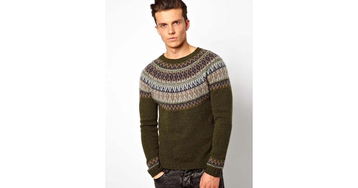 465f262a54cc Lyst - ASOS United Colors Of Benetton Sweater with Fairisle in Green for Men