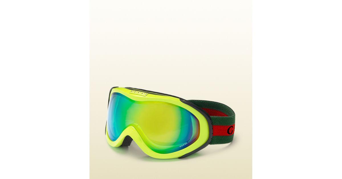 7dcd0b155022 Gucci Neon Yellow Ski Goggles in Yellow for Men - Lyst